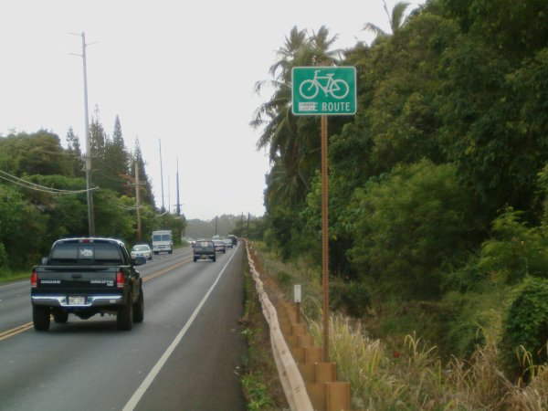 The southbound shoulder of Kuhio highway squeezed between a pickup truck whizzing by and an unbroken guardrail, yet proclaimed Bike Route by the sign