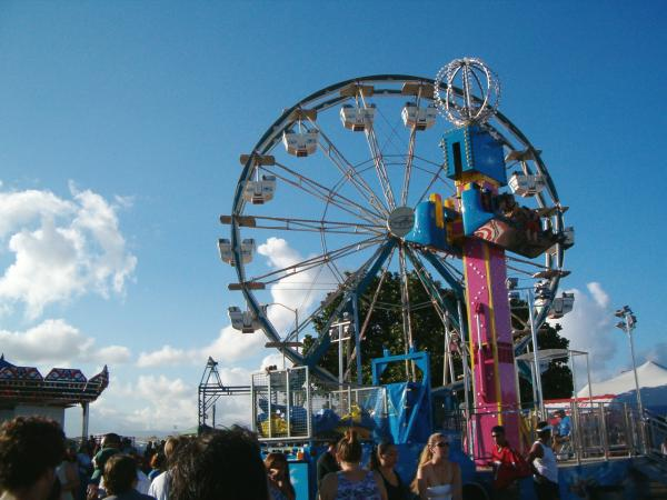 The drop ride and the ferris wheel.