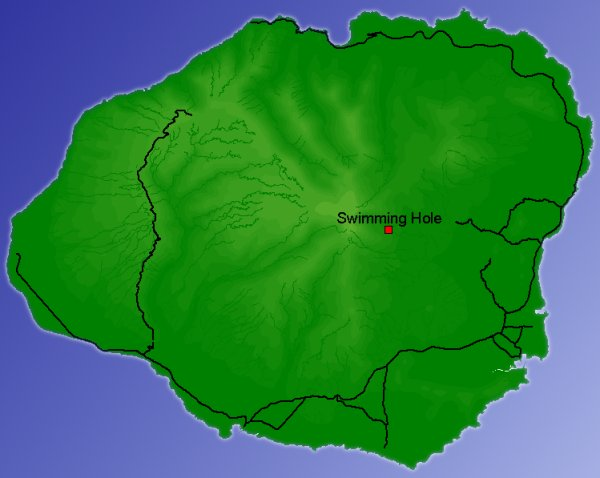 Map of Kauai with elevation shading, roads, rivers and a red box near the center.
