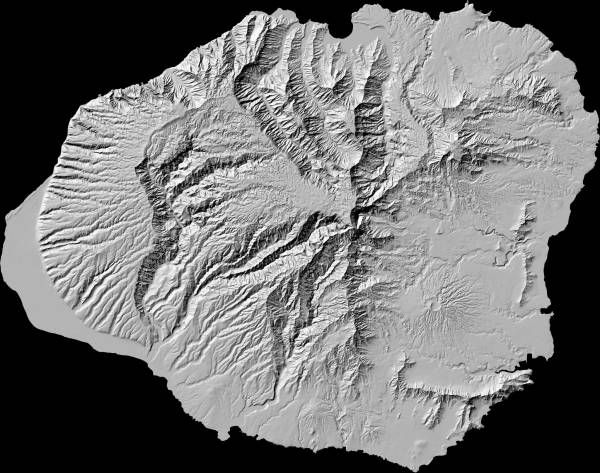 Black and white relief map of Kauai