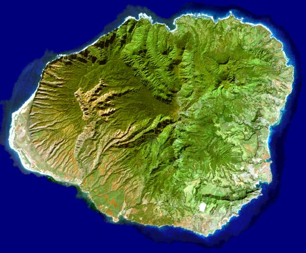 Cloudless color satellite photo of Kauai