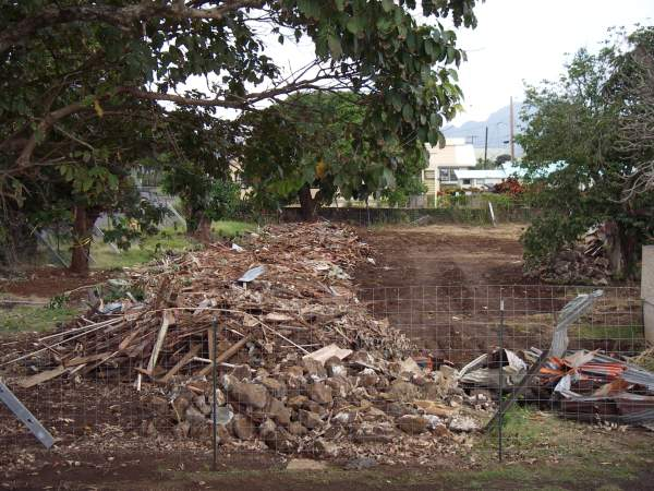 Piles of rubble beneath the old shade trees of Koloa Town