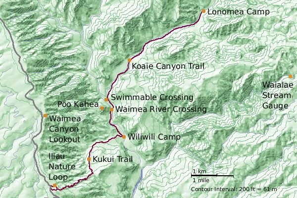Shaded topographical map of Waimea and Koaie Canyons showing the trails we took--created by the author with ArcExplorer GIS