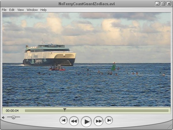 Click to download 30 MB movie of Coast Guard zodiacs negociating with surfers