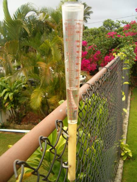 Standard rain gauge attached to our back fence, with 1 inch of precipitation.