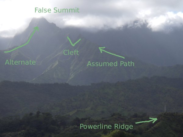 A hazy view towards Mt Waialeale showing the ridges that lead up to Pohakupele, a false summit