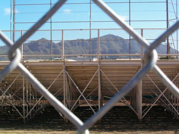 View of Haupu ridge through the fences and bleachers
