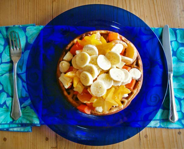 Waffle and fruit topping for brunch.